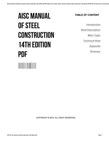 Aisc Steel Construction Manual 14th Edition Pdf. modern