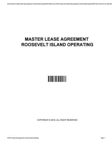 Master lease agreement roosevelt island operating by
