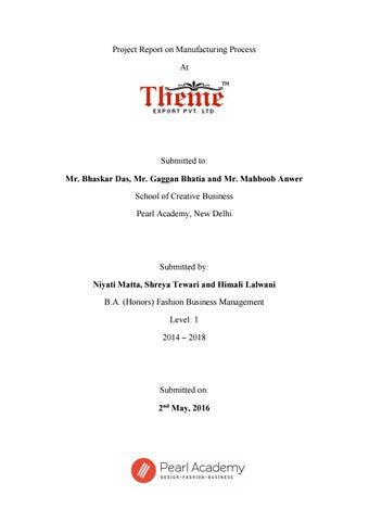 Project Report on Manufacturing Process at Theme Export Pvt Ltd by