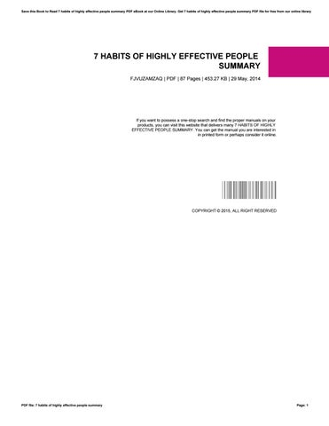 7 habits of highly effective people summary by rudy72ralodi - issuu