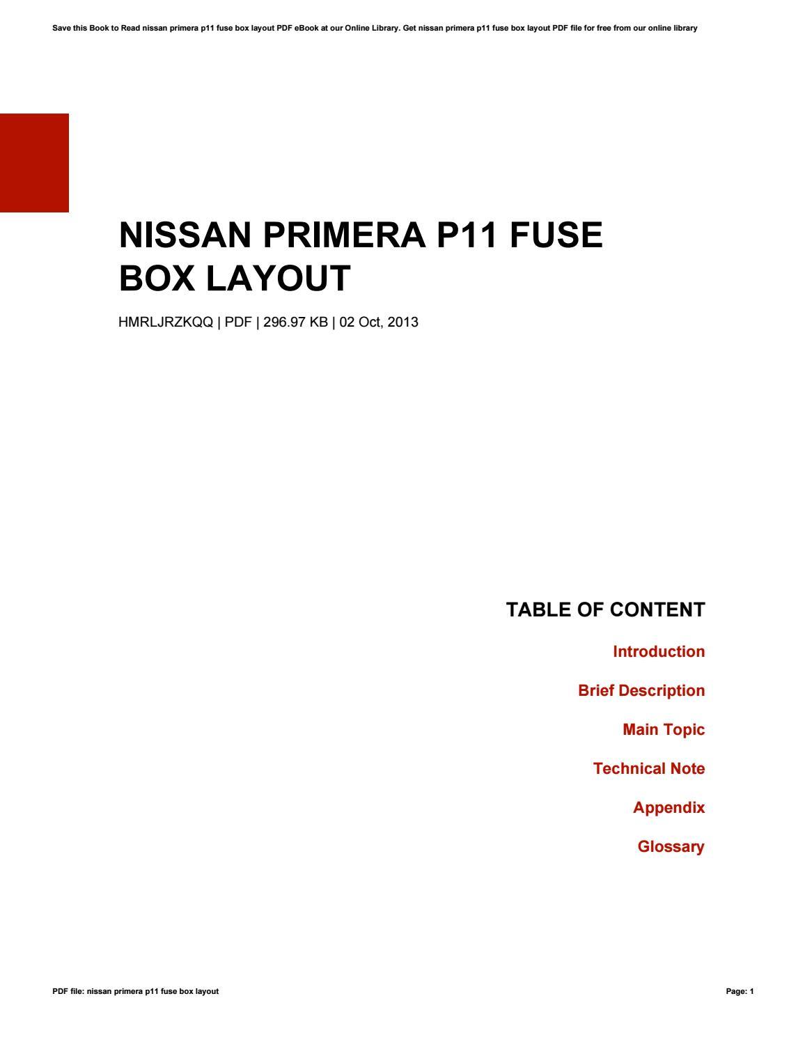 nissan primera p11 fuse box layout