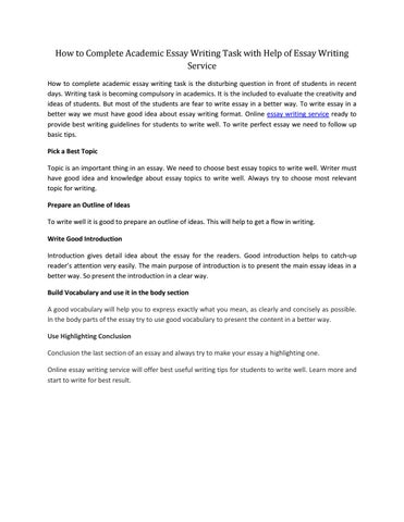 How to Complete Academic Essay Writing task with Help of Essay