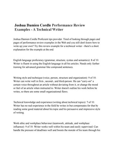Joshua damien cordle performance review examples by - performance review example