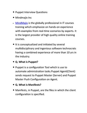 Puppet interview questions by emmablisa - issuu