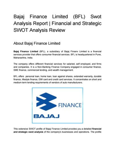 Bajaj Finance Limited (BFL) Swot Analysis Report Financial and - strategic analysis report