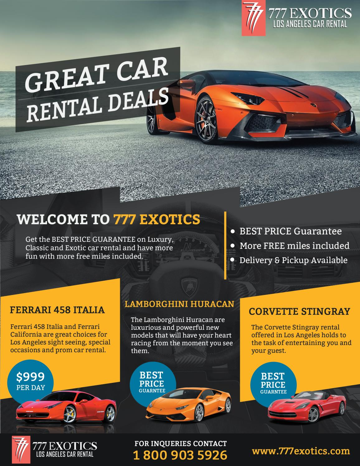 Miles And More Car Rental Exotic Car Brochure By 777 Exotic Car Rental Los Angeles Issuu