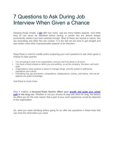 Questions to ask during the interview by Sophie93 - issuu - questions to ask during interview
