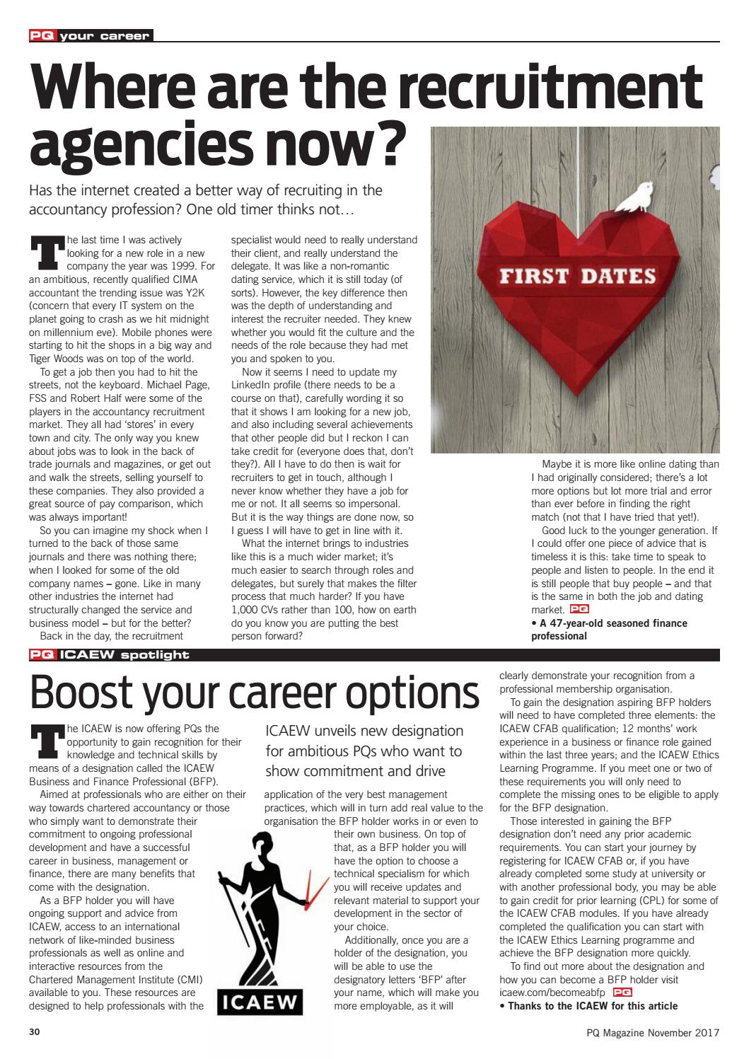 Accountancy Recruitment Agencies Pq Magazine November 2017