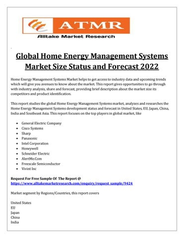 Global Home Energy Management Systems Market Share Analysis, Trends - competitor analysis report