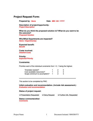 Initial project request form by Chance DKCorreia, MBA, PMI