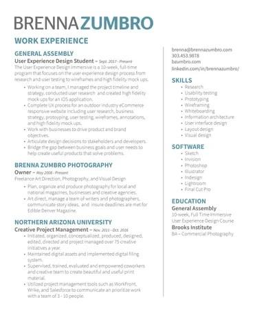 Brenna Zumbro User Experience Design Resume by Brenna Zumbro - user experience designer resume