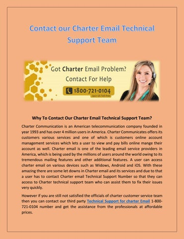 1 800 721 0104 our charter email technical support team by anderson