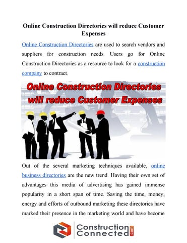 Online construction directories will reduce customer expenses by