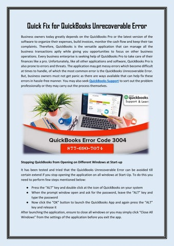 QuickBooks Support 1-877-690-7074 Toll-Free by James Voks - issuu - Quickbooks Unrecoverable Error
