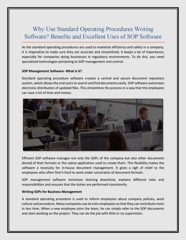 Why Use Standard Operating Procedures Writing Software? Benefits and - why sop is used