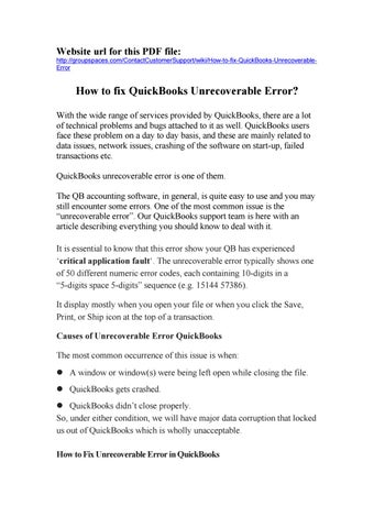 How to fix quickbooks unrecoverable error by devil rawat - issuu - Quickbooks Unrecoverable Error