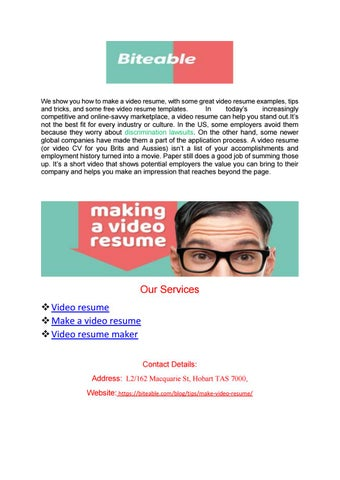Making a video resume biteable by Kevin Fredy - issuu - video resume examples