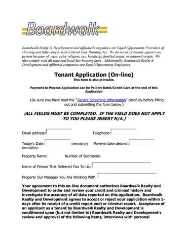 Tenant application Form Boardwalk Realty by boardwalkrealty - issuu