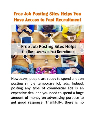 Free Job Posting Sites Helps You Have Access to Fast Recruitment by