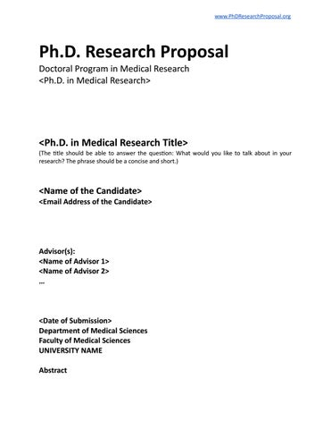PhD Research Proposal Template by PhD Research Proposal - issuu
