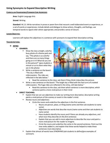 Descriptive writing synonyms lesson plan by Sarah Menzies - issuu