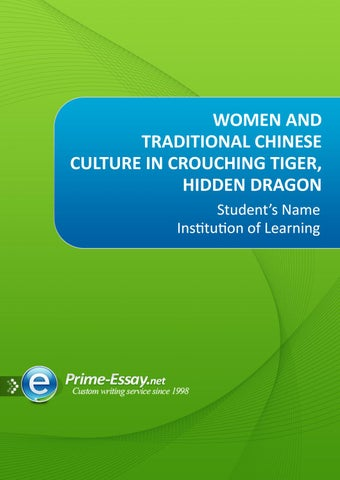Women and Traditional Chinese Culture in Crouching Tiger, Hidden