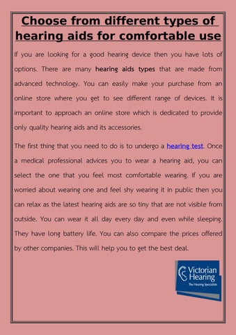 Choose from different types of hearing aids for comfortable use by