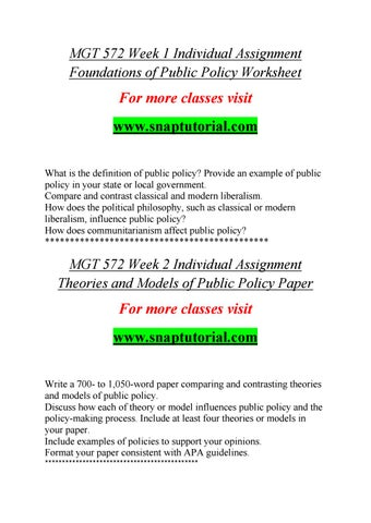 MGT 572 Course Marvelous Learning / snaptutorial by al - public policy examples