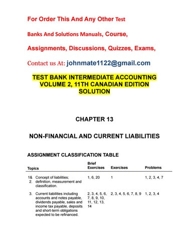 Test bank intermediate accounting volume 2, 11th canadian edition