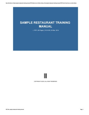 Sample restaurant training manual by xing8865 - issuu