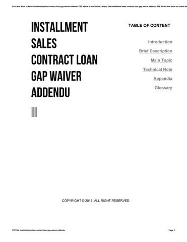 Installment sales contract loan gap waiver addendu by j4268 - issuu - installment sales contract