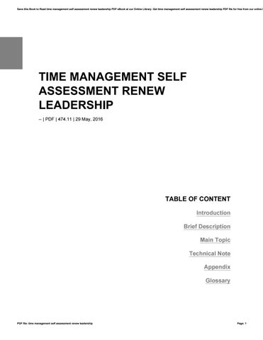Time management self assessment renew leadership by j454 - issuu - leadership self assessment