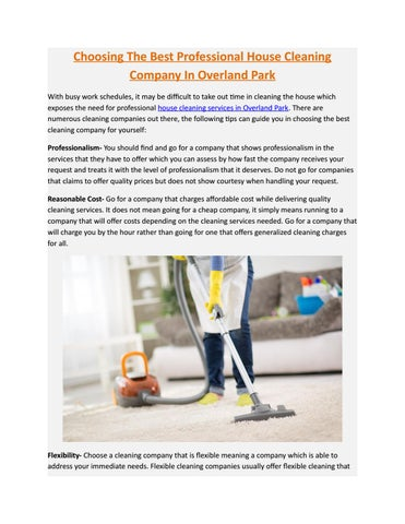Choosing the best professional house cleaning company in overland