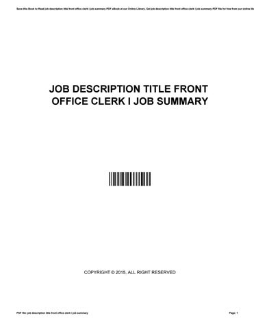 Job description title front office clerk i job summary by s3455 - issuu