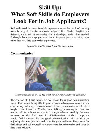 Skill Up What Soft Skills do Employers Look For in Job Applicants
