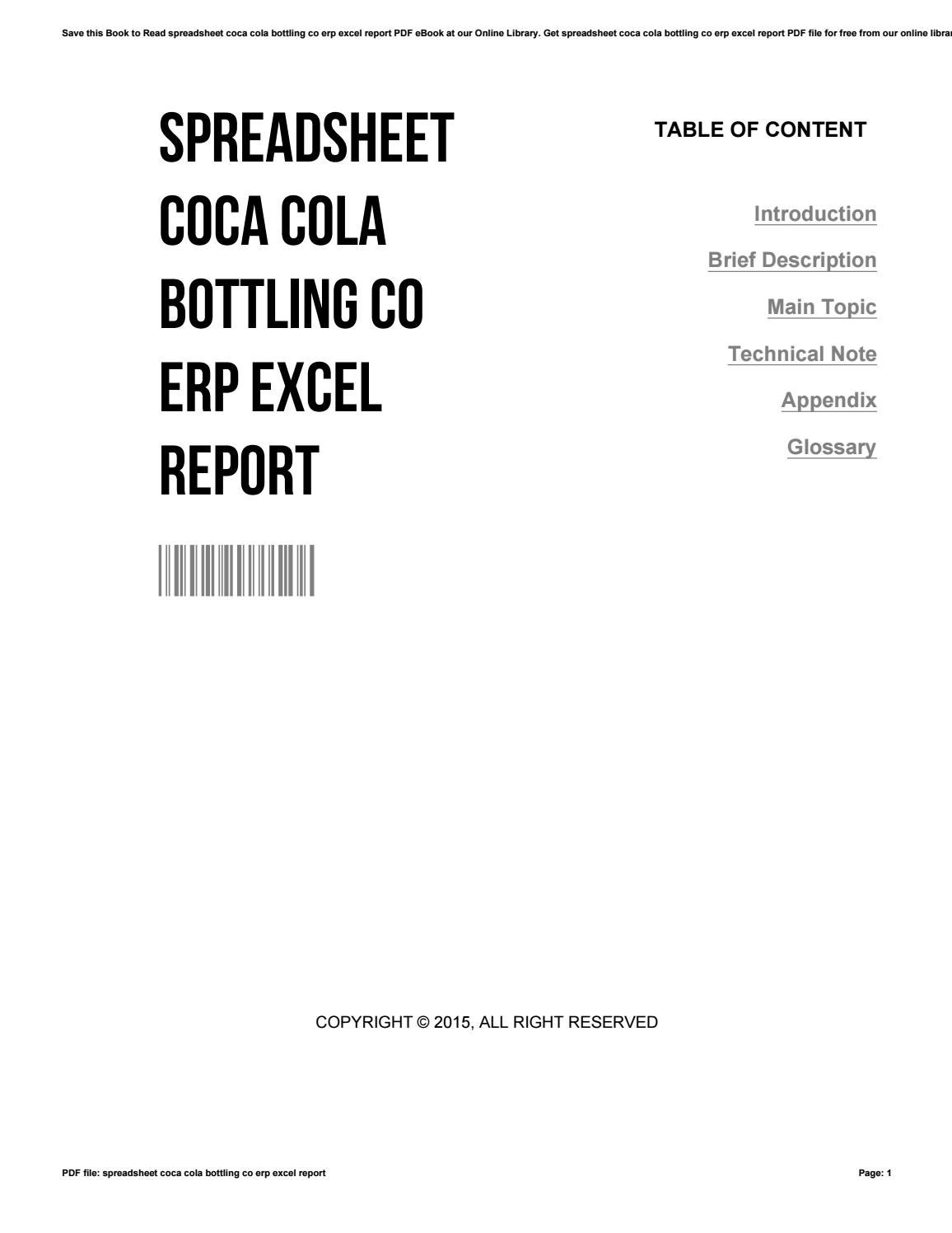 Erp Libra Spreadsheet Coca Cola Bottling Co Erp Excel Report By 117470 Issuu