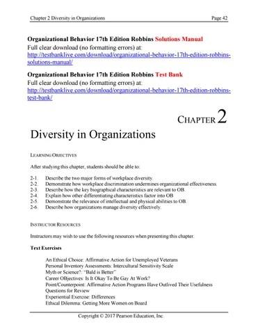 Organizational behavior 17th edition robbins solutions manual by