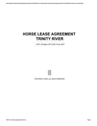 Horse lease agreement trinity river by phpbb971 - issuu