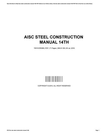 Aisc steel construction manual 14th by te140 - issuu
