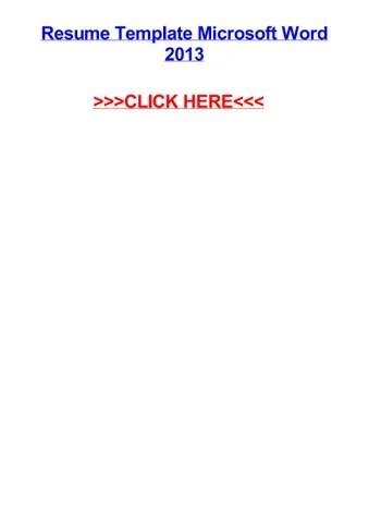Resume template microsoft word 2013 by viraqgtg - issuu