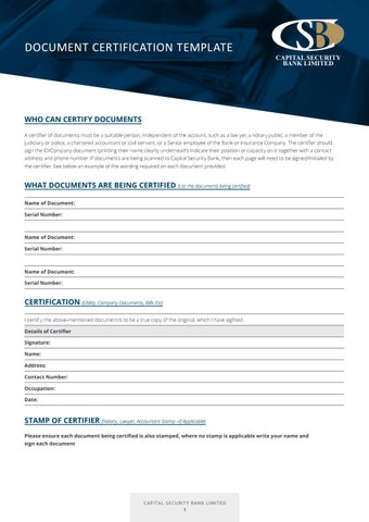 CSB Document Certification Template by John Evans - issuu