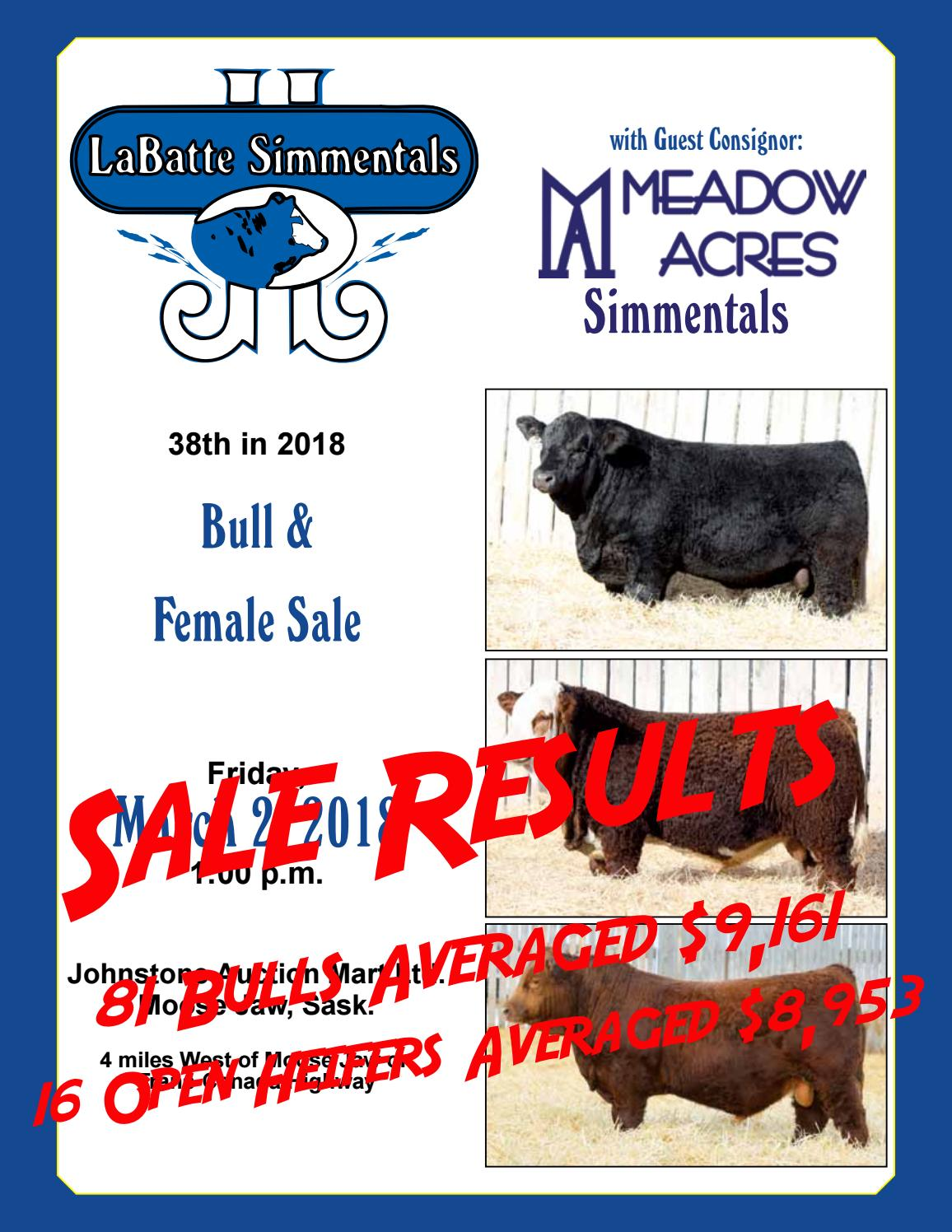 38th Annual Labatte Simmentals With Guest Consignor Meadow Aces Simmentals Bull Female Sale By Bohrson Marketing Services Ltd Issuu