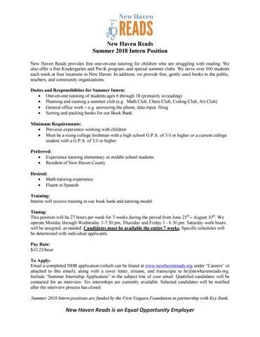 2018-key-bank-summer-internship-job-description by New Haven Reads