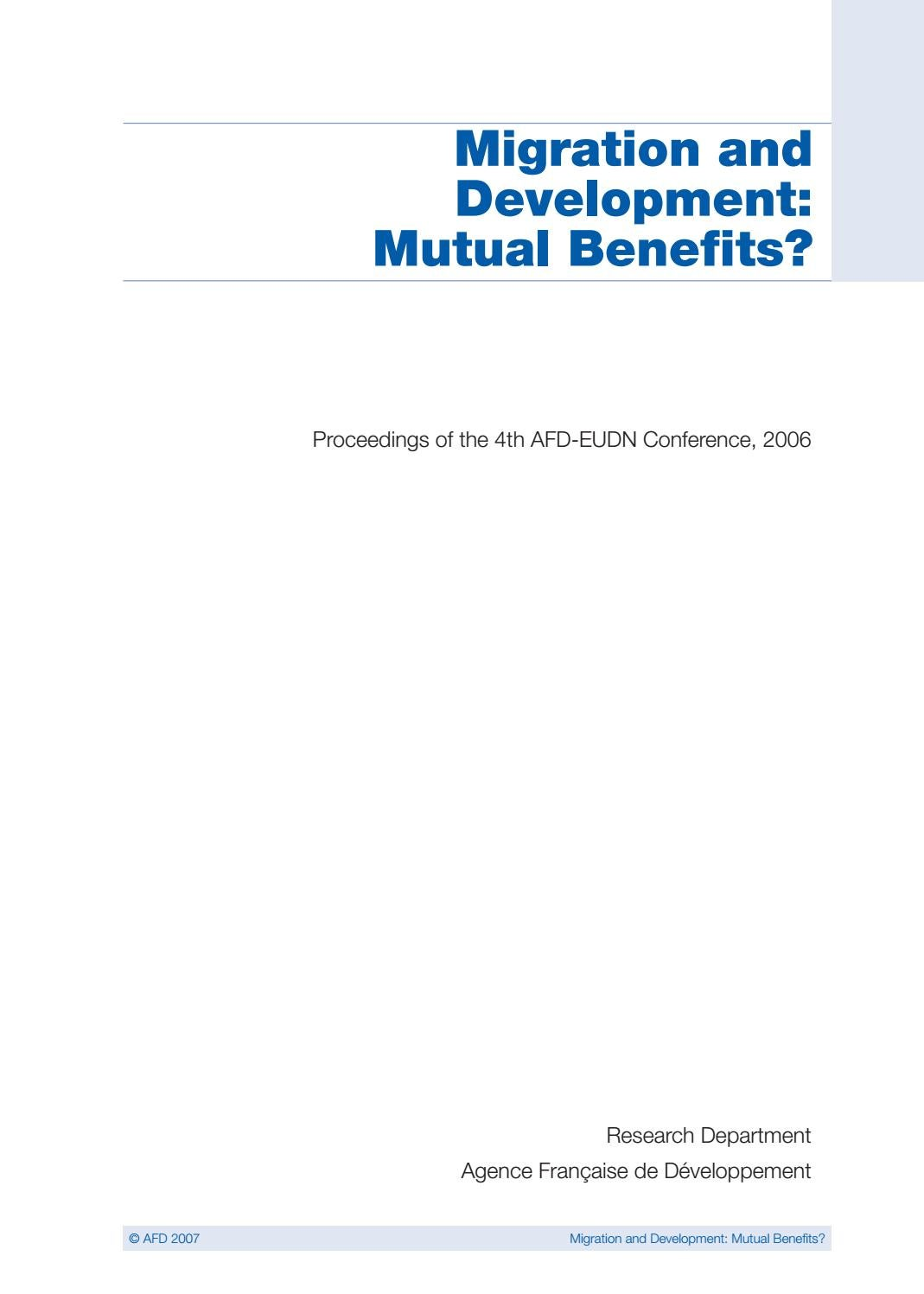 Cash Pool C'est Quoi Migration And Development Mutual Benefits Proceedings Of The 4th Afd Eudn Conference 2006