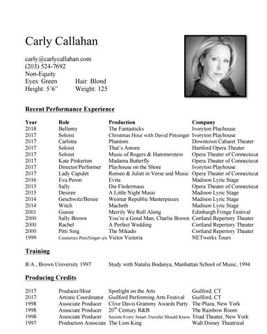 Performance resume april 2018 by Carly Callahan - issuu