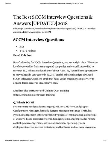 The best sccm interview questions  answers updated 2018 by - server interview questions