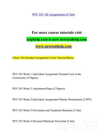 PSY 205 A Guide to career/newtonhelp by birdofparadiseflower12