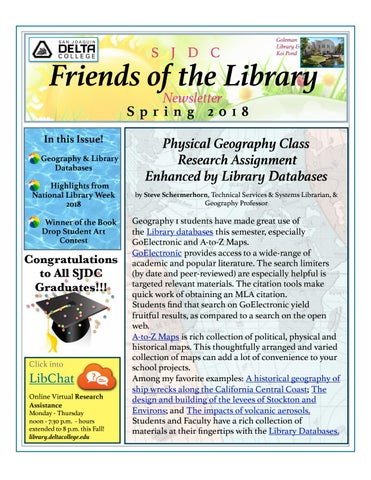 Friends of the Library Newsletter, Spring 2018 by Delta College
