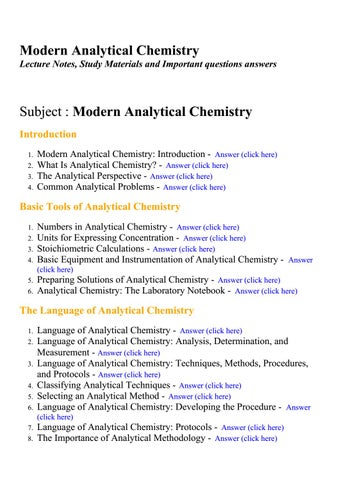 Modern analytical chemistry - Lecture Notes, Study Materials and