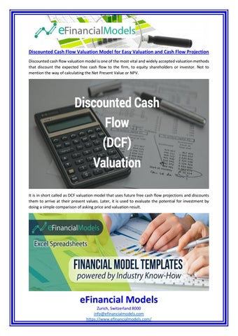 Discounted cash flow valuation model for easy valuation and cash